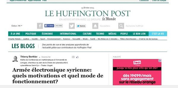 Un article sur le Huffington Post